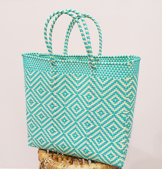 Mexi Tote Bag Medium - Turquoise & Cream