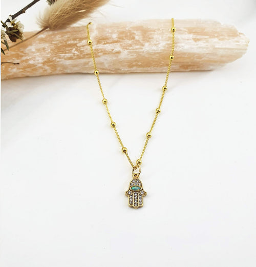 Hamsa Opal Hand - Gold Necklace