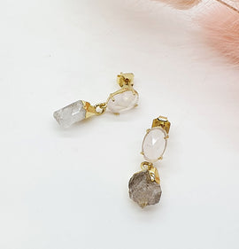 Herkimer Diamond + Rose Quartz Crystal Earrings