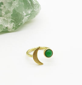Jade Gold Moon Ring