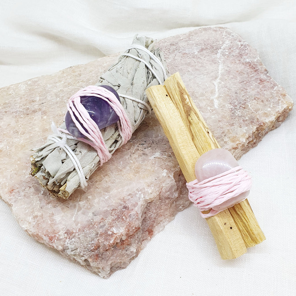 white sage amethyst and palo santo rose quartz smudge sticks