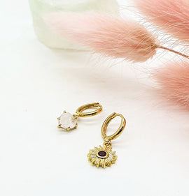 Gold Mini Hoops with Ruby Sun + Rose Quartz