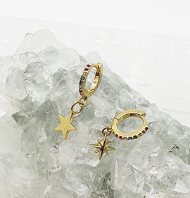 Rainbow Star Charm Mini Hoops