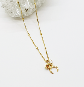 Moon Crescent Gold Vermeil Necklace