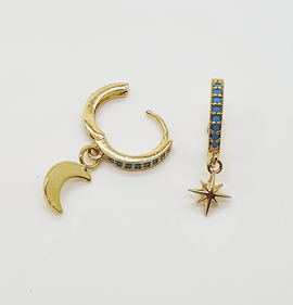 North Star & Moon Turquoise Hoops