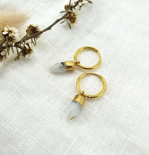 Moonstone Point Gold Hoops