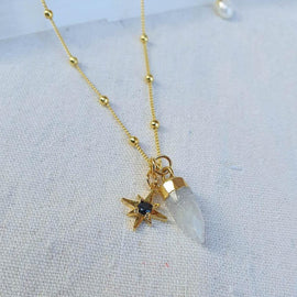 "Moonstone ""Onyx North Star"" - Gold Necklace"