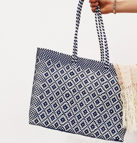 Mexi Tote Bag Large - Navy & White