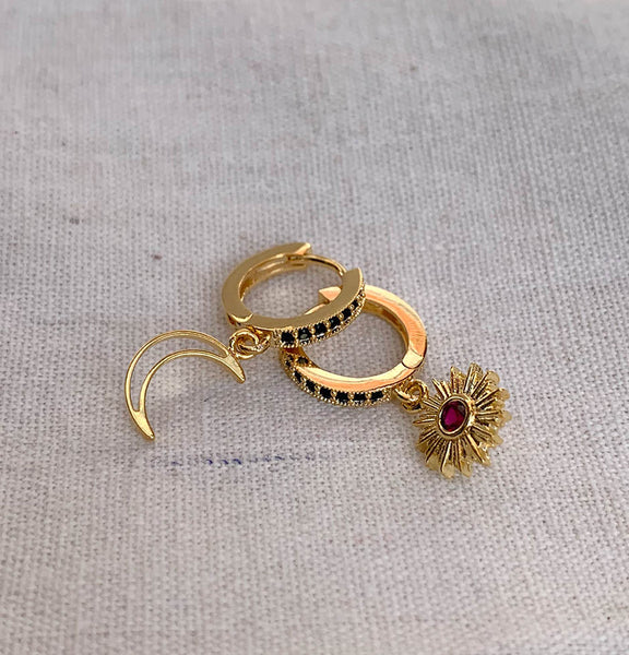 Onyx gold hoops + Ruby sunflower
