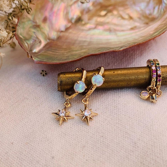 Opal gold hoops + North Star