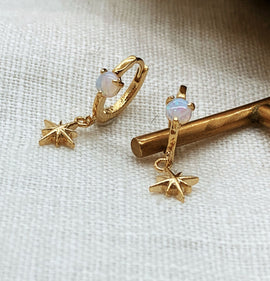 "Opal ""Aurora"" Gold Hoops + CZ North Star"