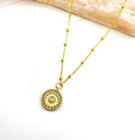 Opal Mandala Coin Necklace
