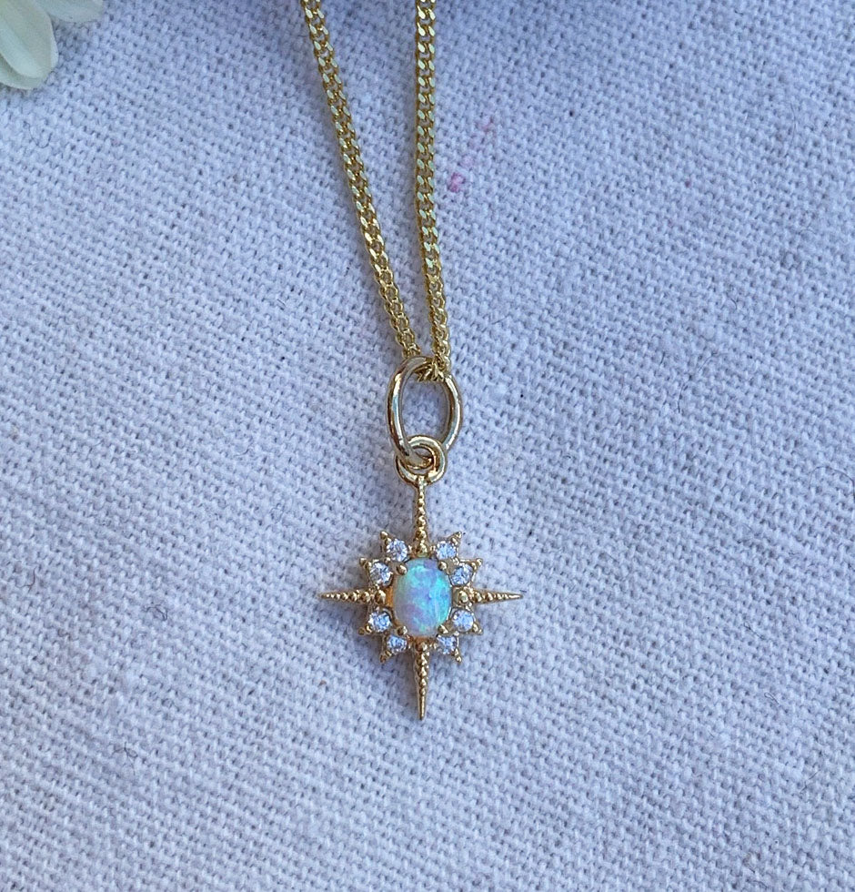 Opal North Star Charm Gold Necklace