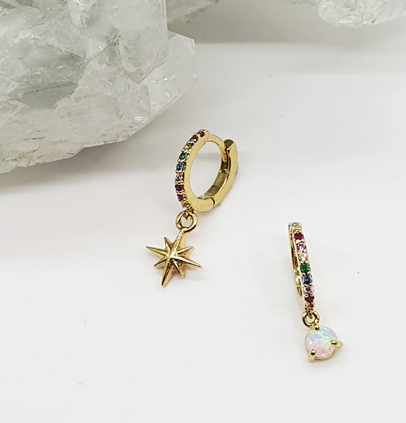 Rainbow Opal and Star Mini Hoops