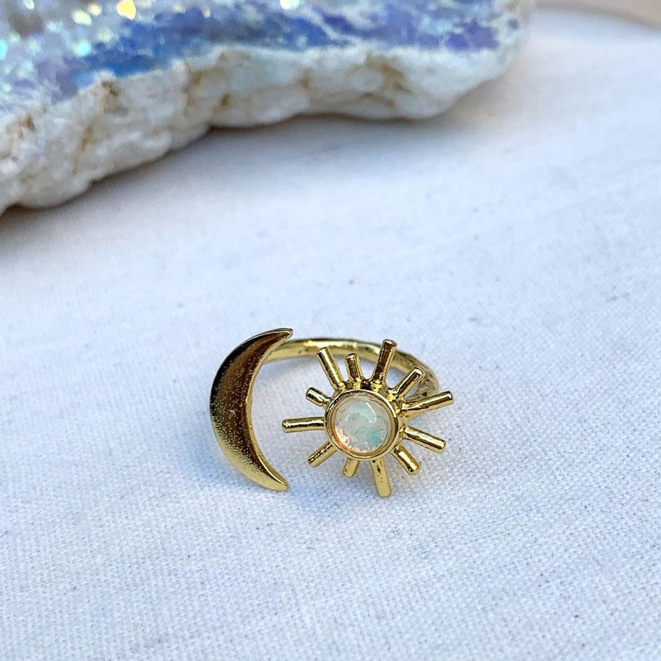 gold sun and moon opal ring