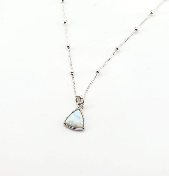 Opal Triangle Necklace - Sterling Silver