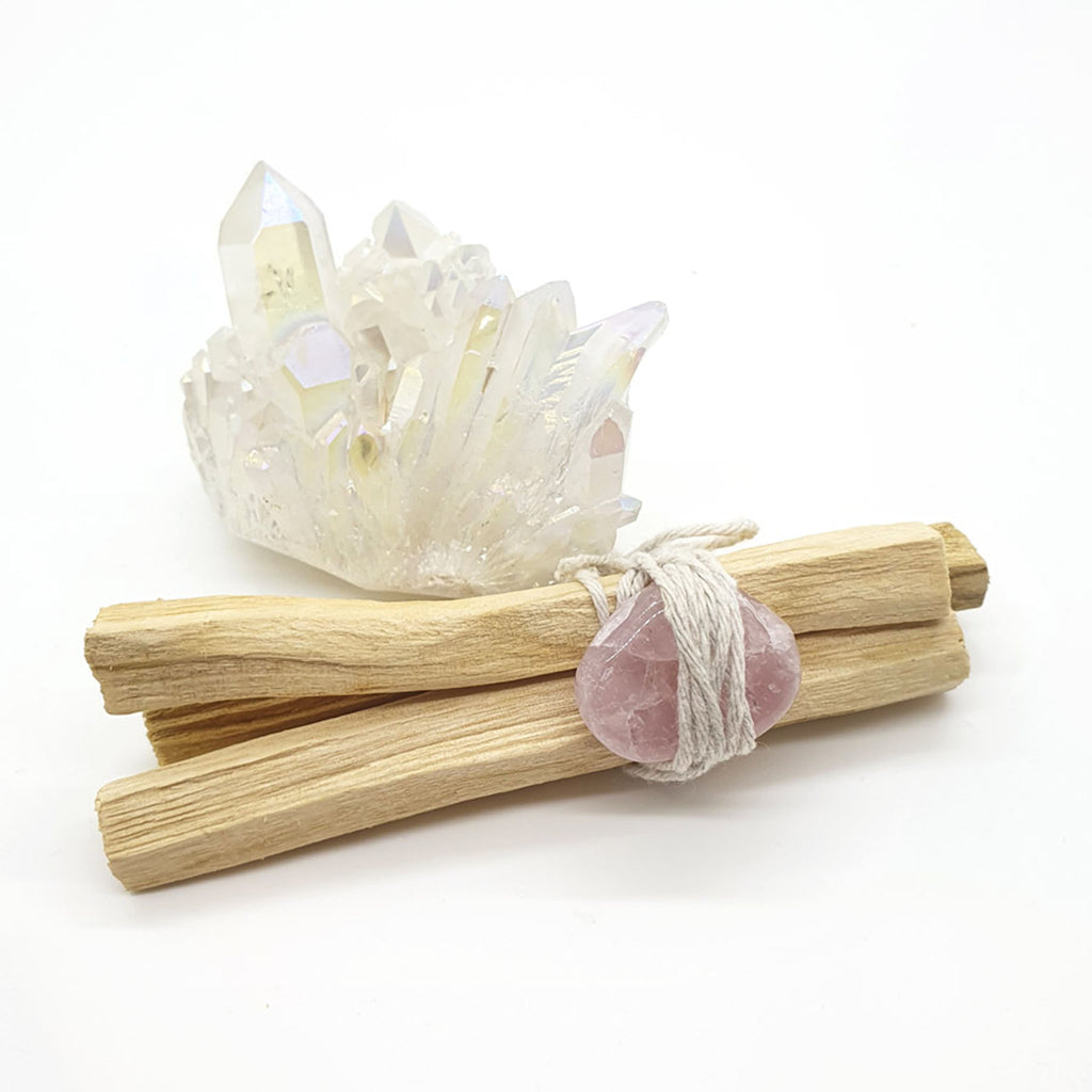 palo santo smudge stick with rose quartz