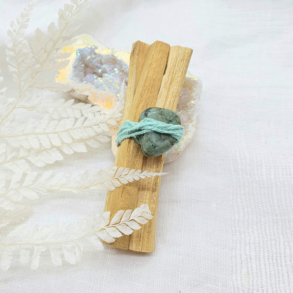 palo santo smudge stick with turquoise