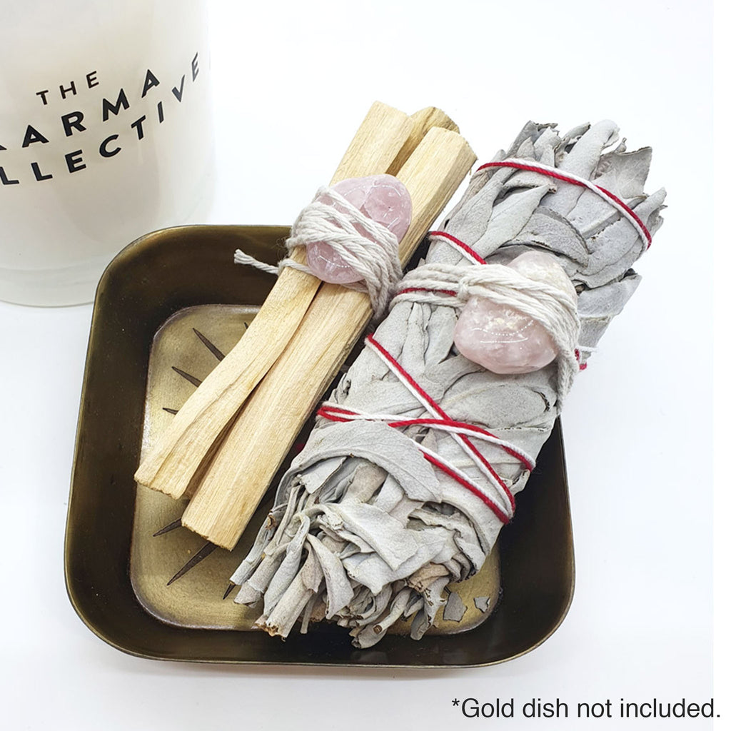 white sage and palo santo with rose quartz smudge kit
