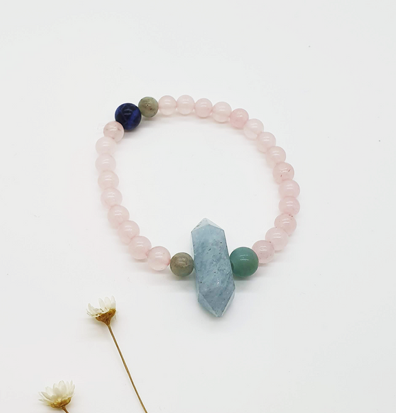 Rose Quartz & Aquamarine Bracelet