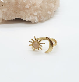 Rose Quartz Gold Sun & Moon ring