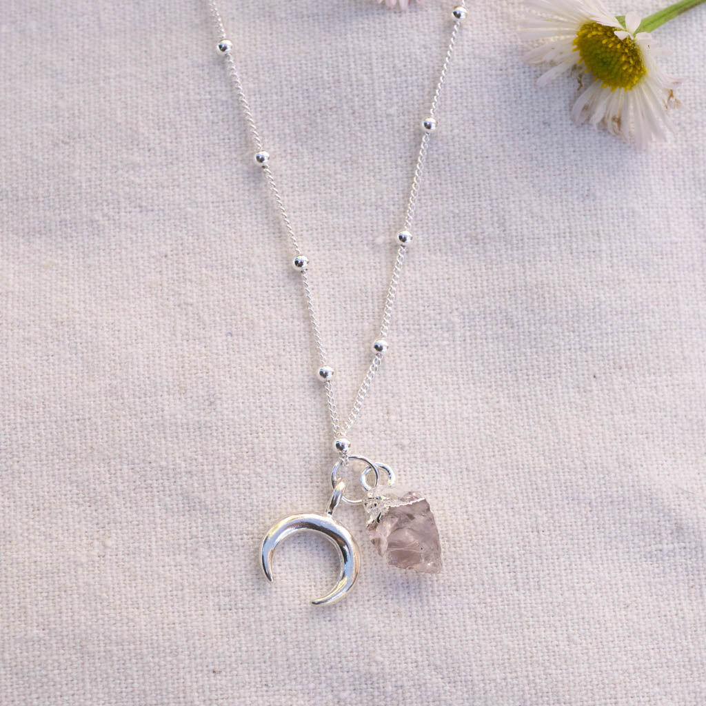 Rose Quartz + Moon Necklace