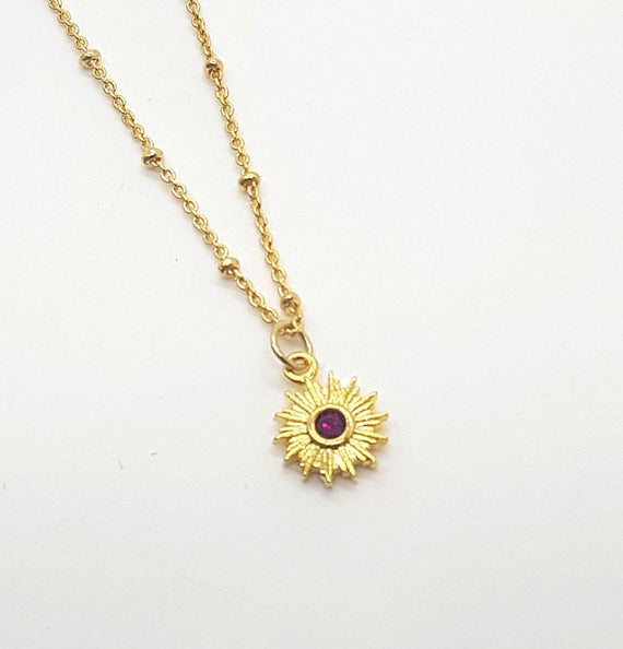Ruby Sun Gold Necklace