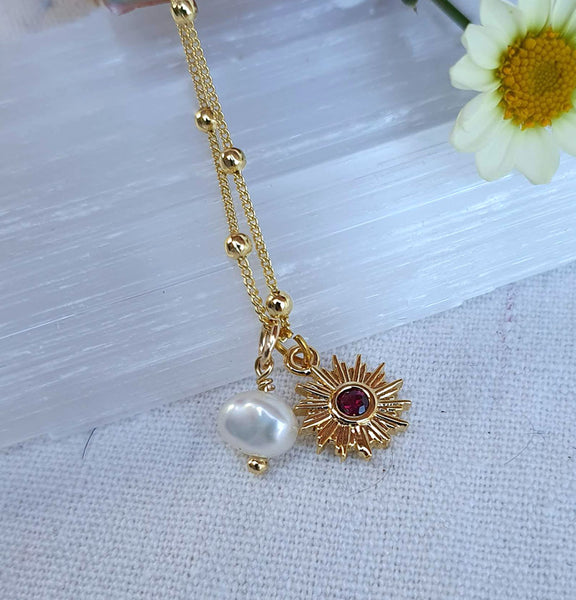 Ruby Sun + Pearl Gold Necklace