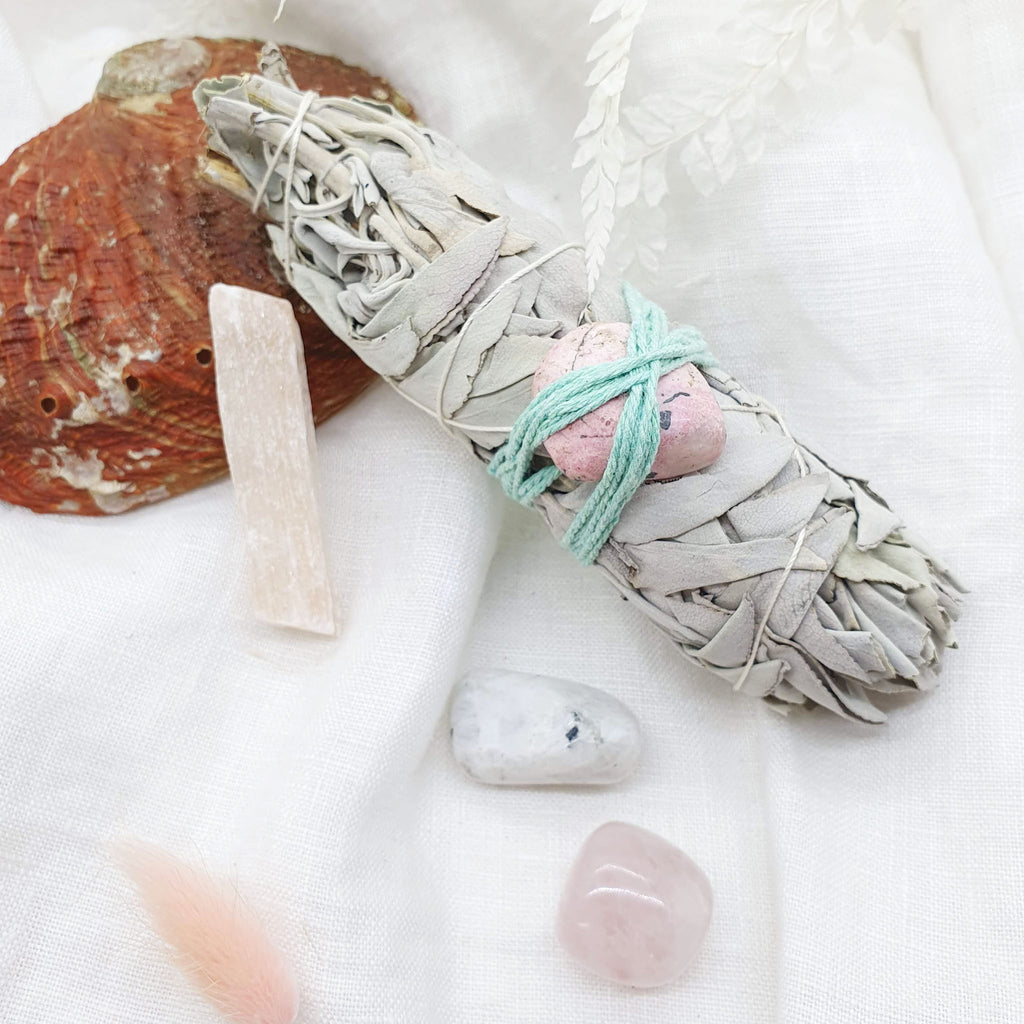 white sage with rhodonite