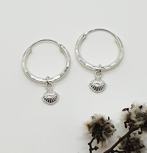 Shell Charm Sterling Silver Hoops