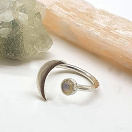 Opal Moon Ring - Sterling Silver