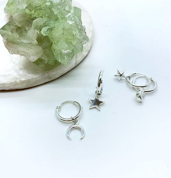 Crescent Moon + Star Mini Hoops - Sterling Silver