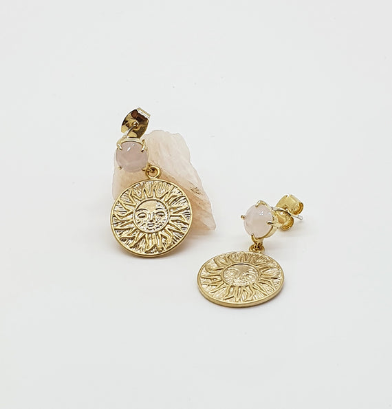 Rose Quartz Sun Stud Earrings
