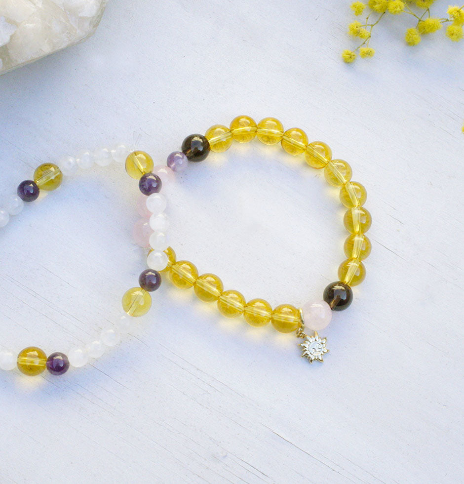 citrine, rose quartz gemstone bracelet