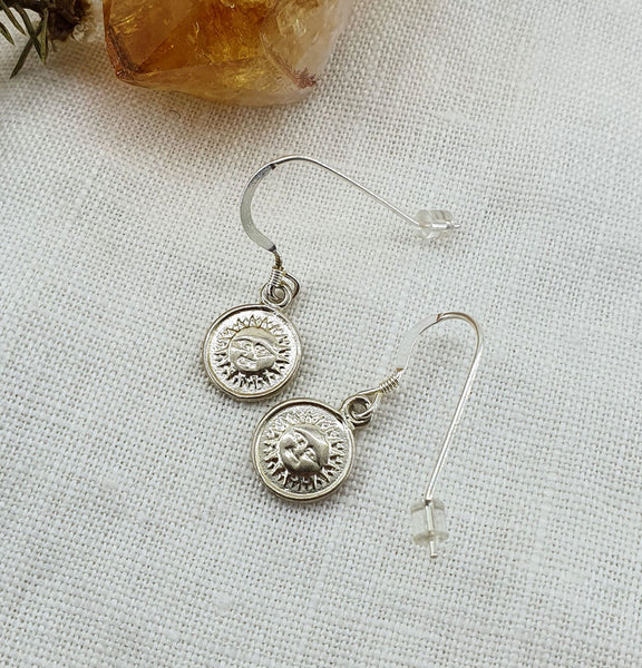 Sun + Moon Reverse Coin Earrings - Sterling Silver