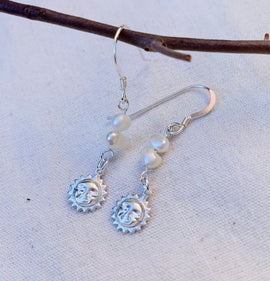 Sun + Pearl 'Dahlia' Earrings- Sterling Silver