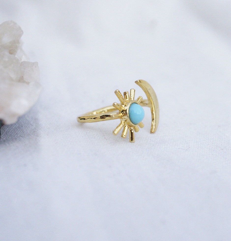 Sun & Moon Gold Ring - Turquoise