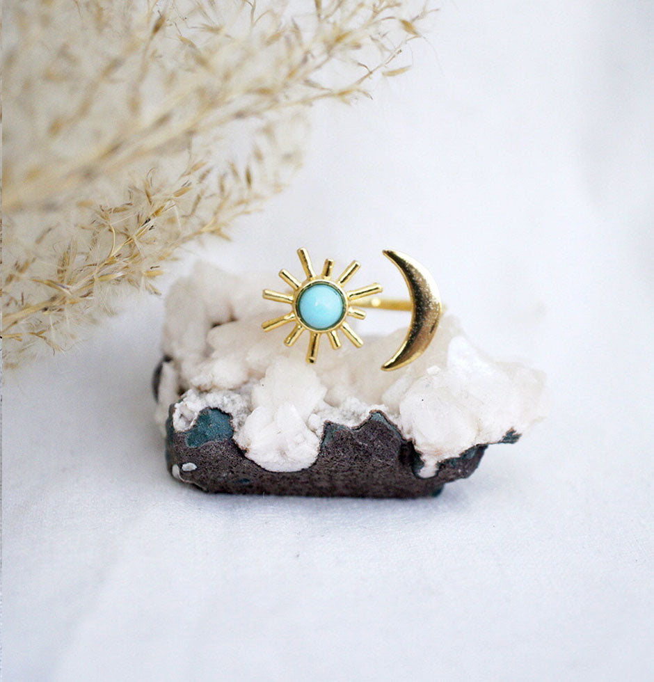 Turquoise gold sun ring