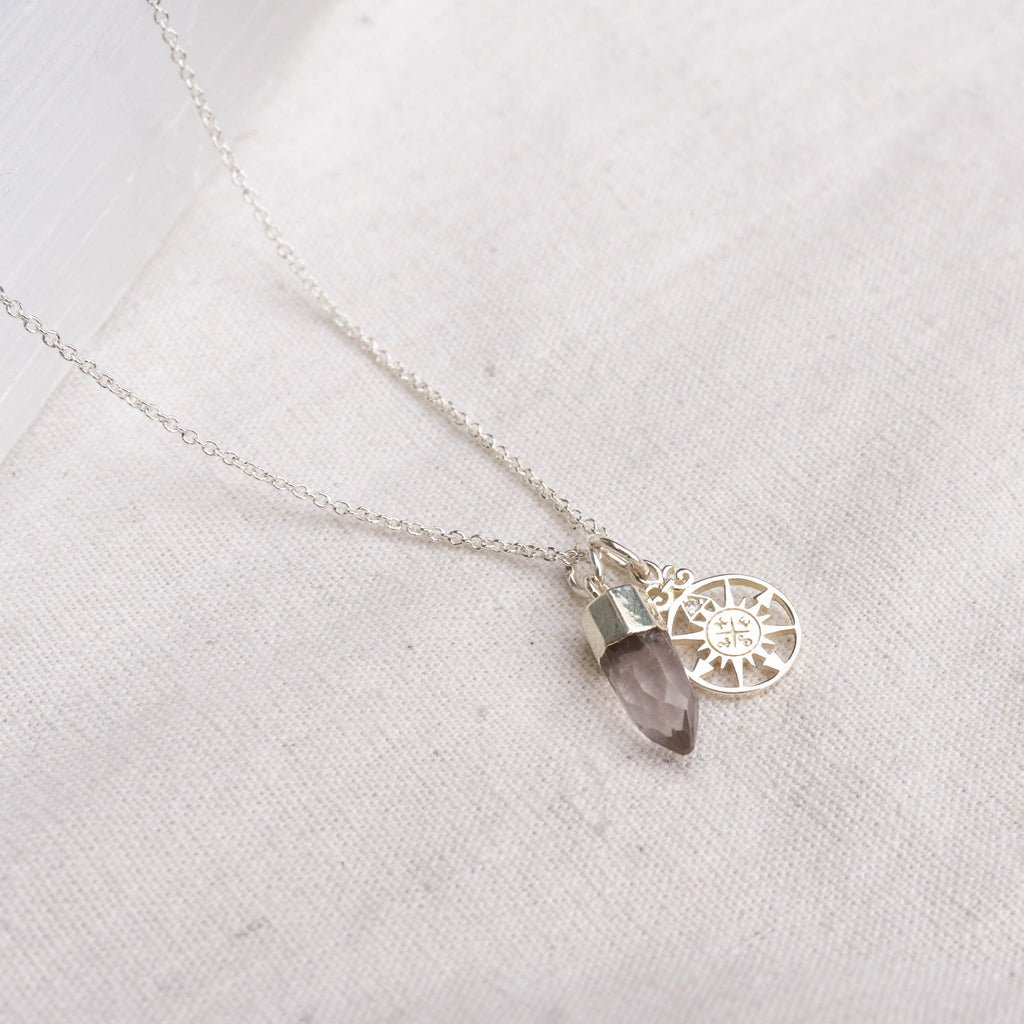 Rose quartz compass necklace