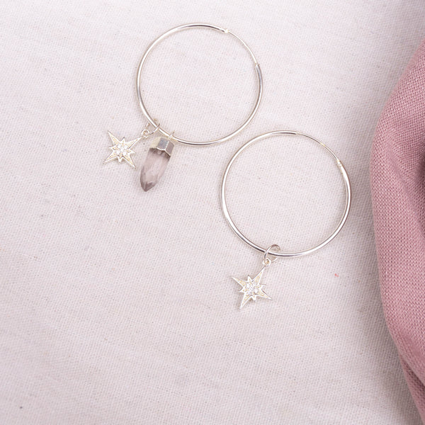 Rose Sky Sterling Silver Hoops