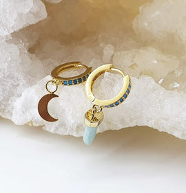 Turquoise Hoops with Amazonite