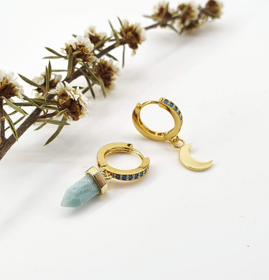 Turquoise Hoops + Amazonite Moon