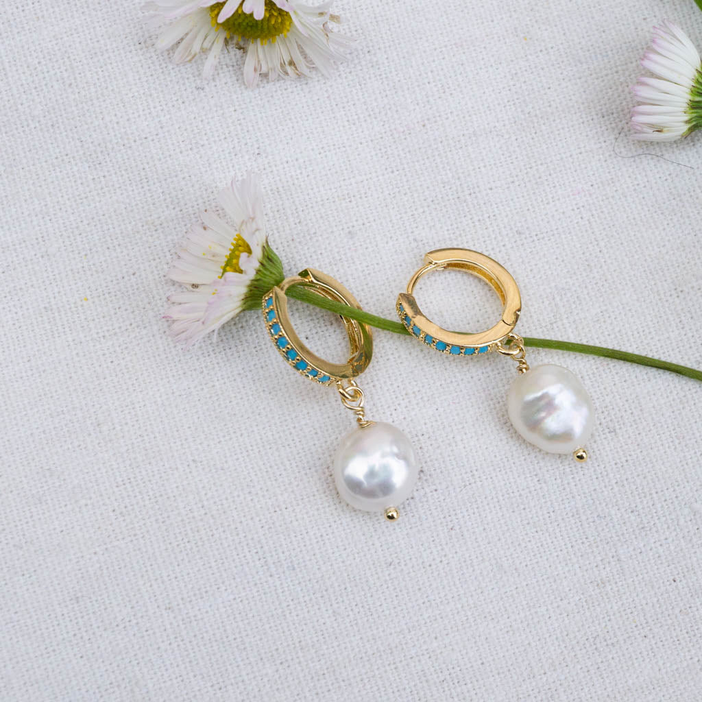 turquoise hoops with freshwater pearls earrings