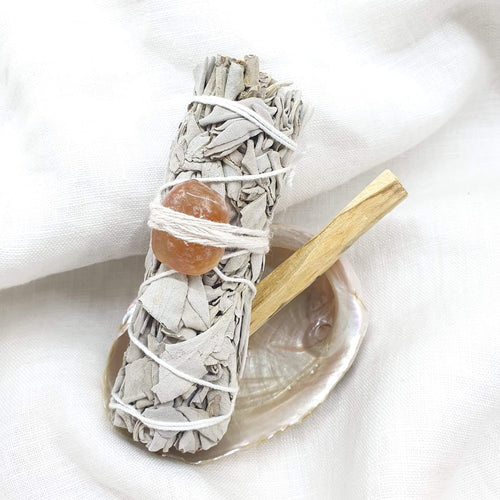 White Sage with Carnelian and Palo Santo combo
