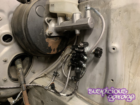 Suspicious Garage MX83 Cressida ABS Elimination Kit using Wilwood Propotioning Valve