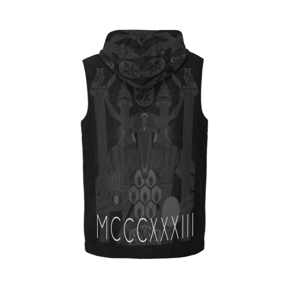 "ЯR ""Beast of Doom"" black Sleeveless Zip-Up Hoodie"
