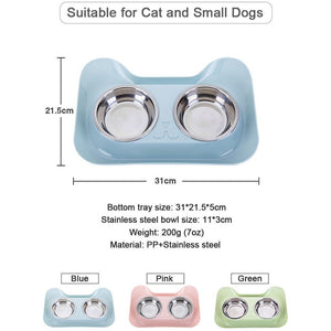 Double Cat & Small Dog Bowls - Pink