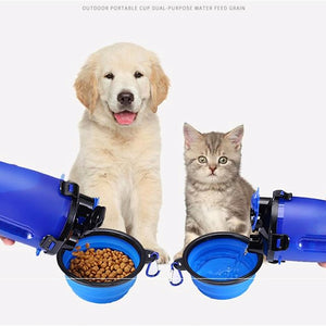 2 In 1 Pet Portable Feeding & Water Set - Blue