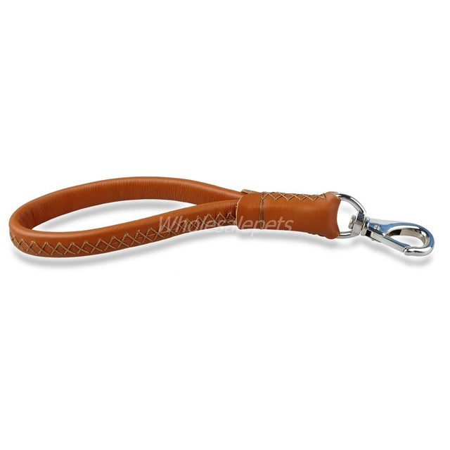 Short Leather Dog Leash - Brown