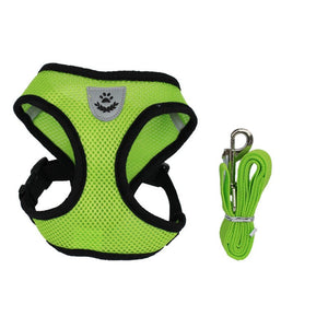 Mesh Cat Harness & Vest with Leash - Green
